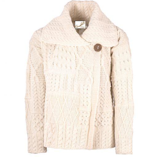 cream aran knit cardigan