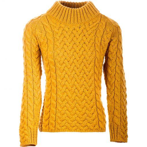 yellow aran knit jumper