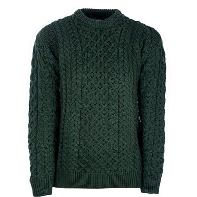 green aran knit jumper