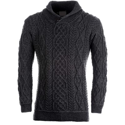 grey aran knit jumper