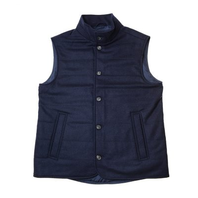 dark blue quilted gilet