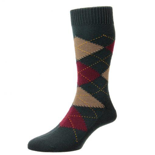 green argyll socks