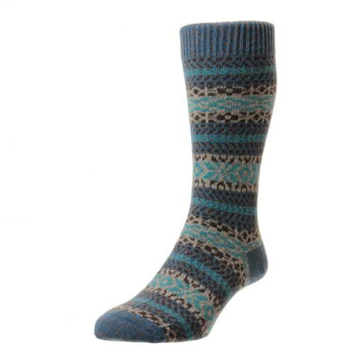 blue fairisle socks
