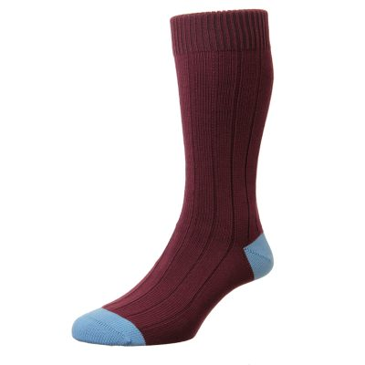 red sock with blue heel and toe