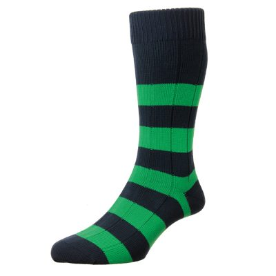 stripey green and blue sock