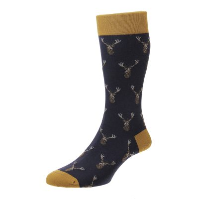 navy stag socks