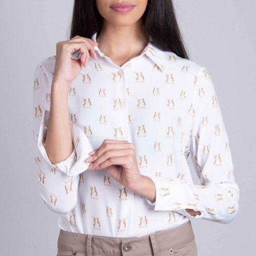 model wearing boxing hares shirt