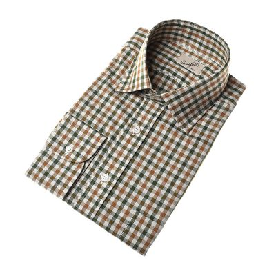 brown green gingham shirt