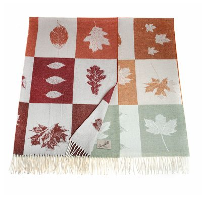 blanket with leaves pattern