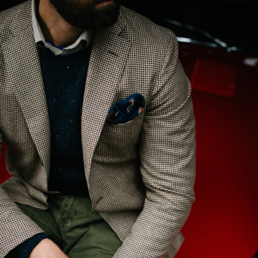 cashmere jacket on model