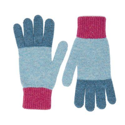 shetland wool gloves blue