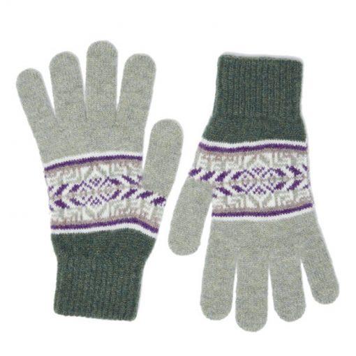 green fairisle gloves