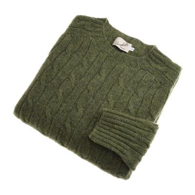shetland cable knit jumper olive
