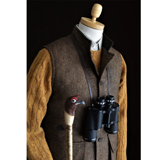 nehru gilet in brown tweed