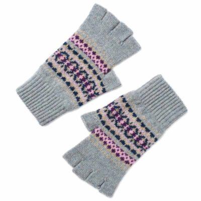 fairisle half finger gloves