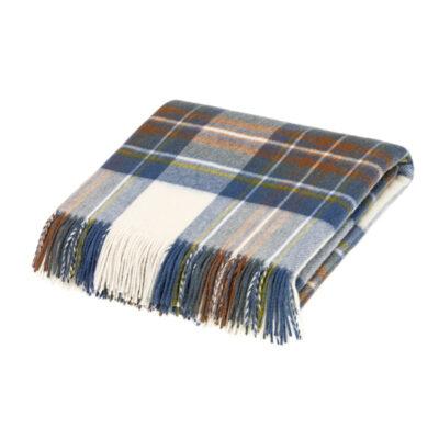 muted blue stewart tartan blanket